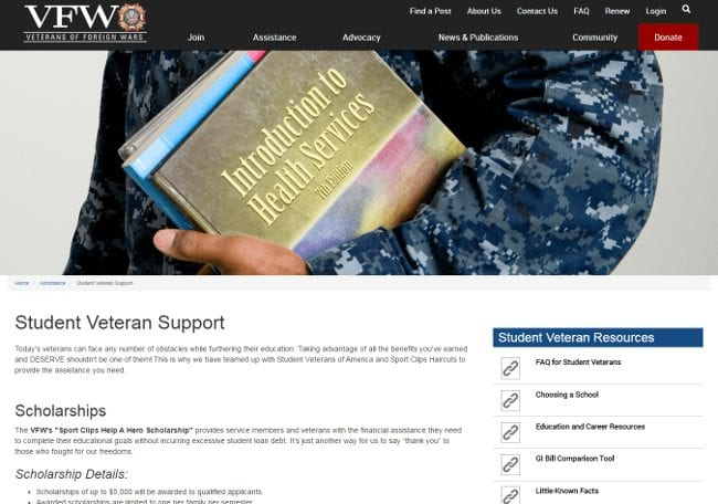 The VFW's Sport Clips Help A Hero Scholarship