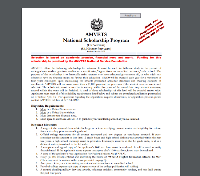 AMVETS National Scholarship Program