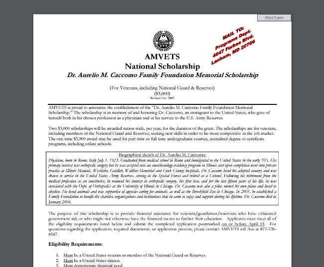 AMVETS National Scholarship - Dr. Aurelio M. Caccomo Family Foundation Memorial Scholarship