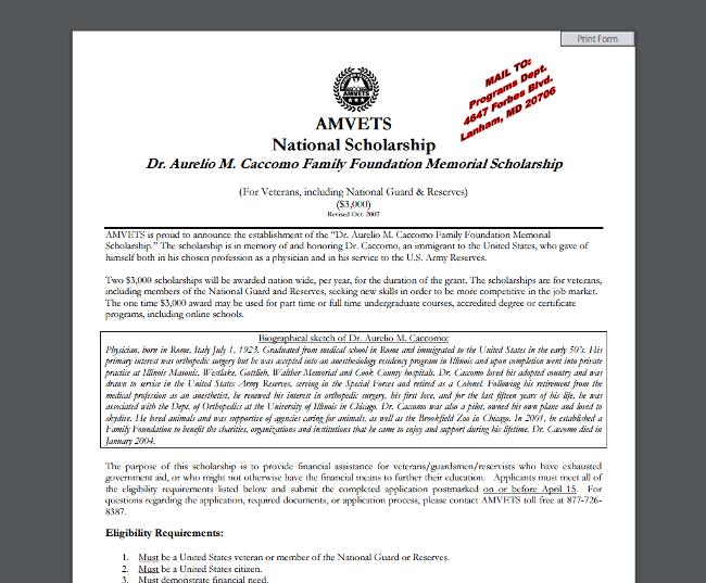 AMVETS National Scholarship - Dr. Aurelio M. Caccomo Family Foundation Memorial Scholarship