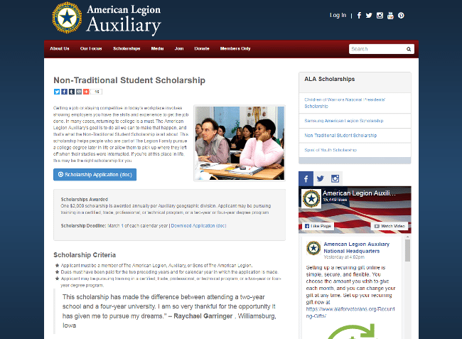 American Legion Non-Traditional Student Scholarship