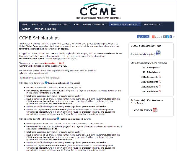 CCME Veteran Scholarship