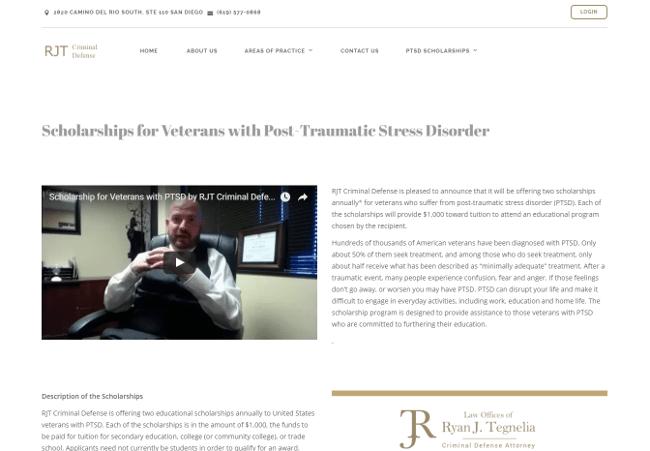 RJT Criminal Defense's Annual Veterans with Post-TraumaticStress Scholarship