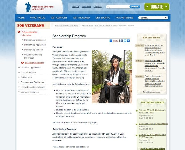 Paralyzed Veterans of America Scholarship Program