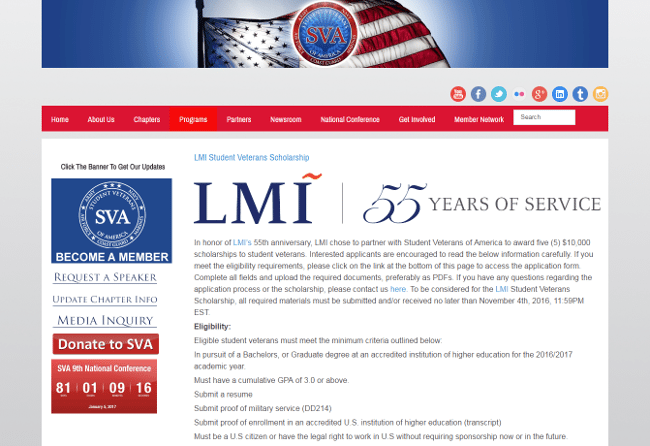 LMI Student Veterans Scholarship