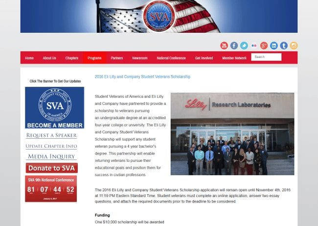 Eli Lilly and Company Student Veterans Scholarship